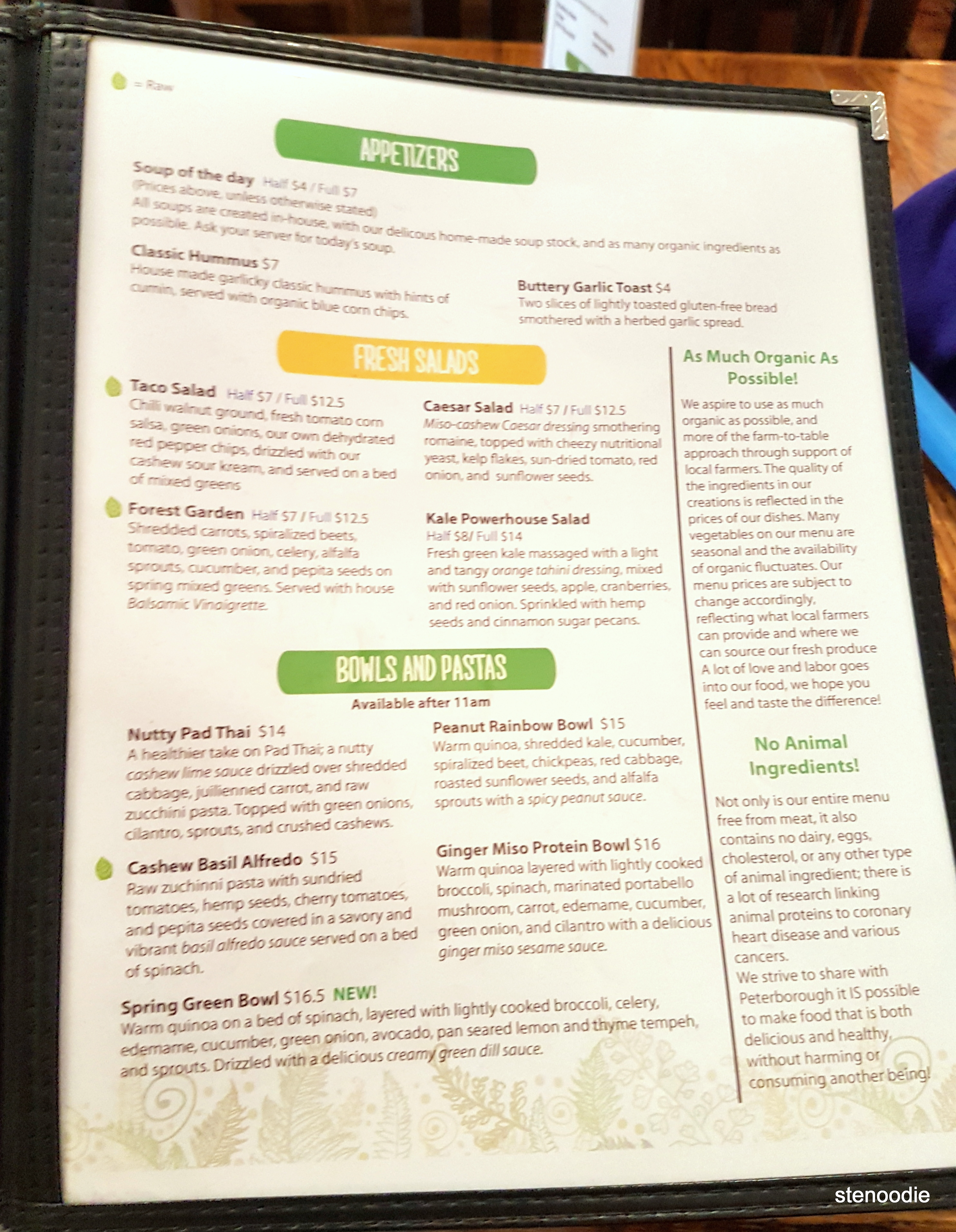 The Food Forest menu - appetizers, salads, bowls and pastas
