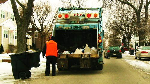 Residential trash collection on North Octavia Avenue. Chicago Illinois. January 2010, by Eddie from Chicago