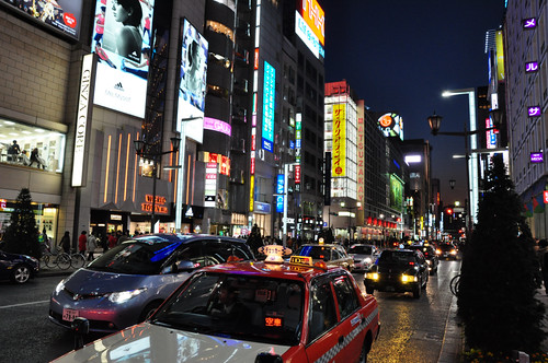 Ginza with Taxis by S. Oyama