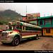 Bus in Zunil centre, Guatemala