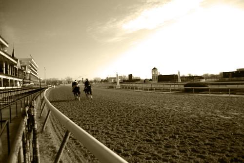 morning horses race training sunrise track kentucky roadtrip louisville workout derby churchilldowns