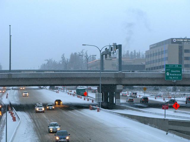 Snowy I-405 in downtown Bellevue