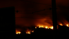 FIRE! The view of Gloaming Hill from SH1 Papakowhai