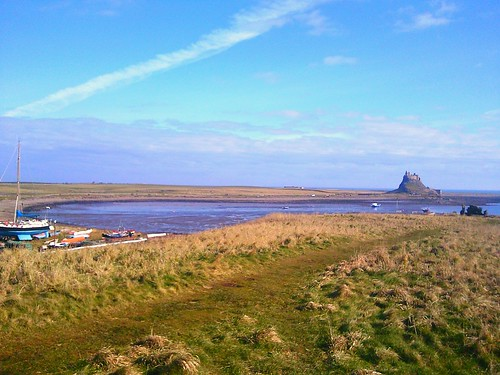 Holy Island looking toward Lindisfarne Castle