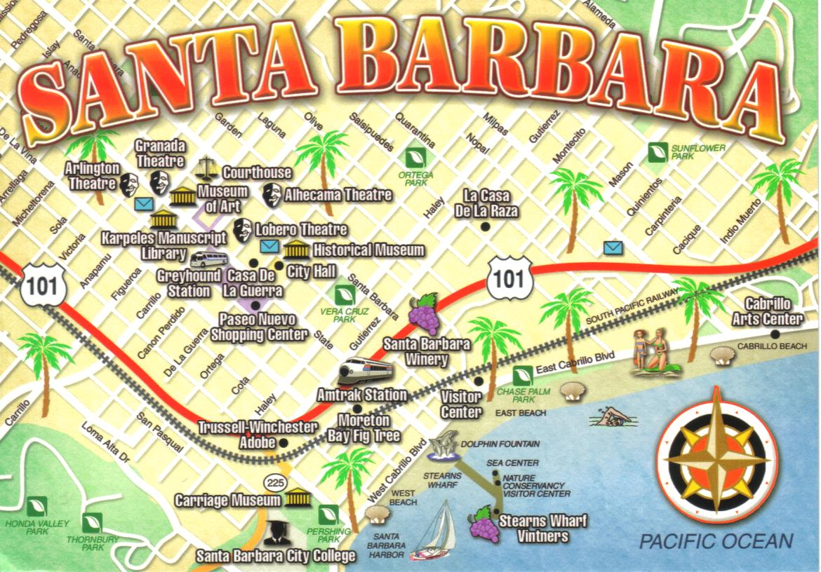 Santa Barbara California map postcard a photo on Flickriver – Santa Barbara Tourist Attractions Map