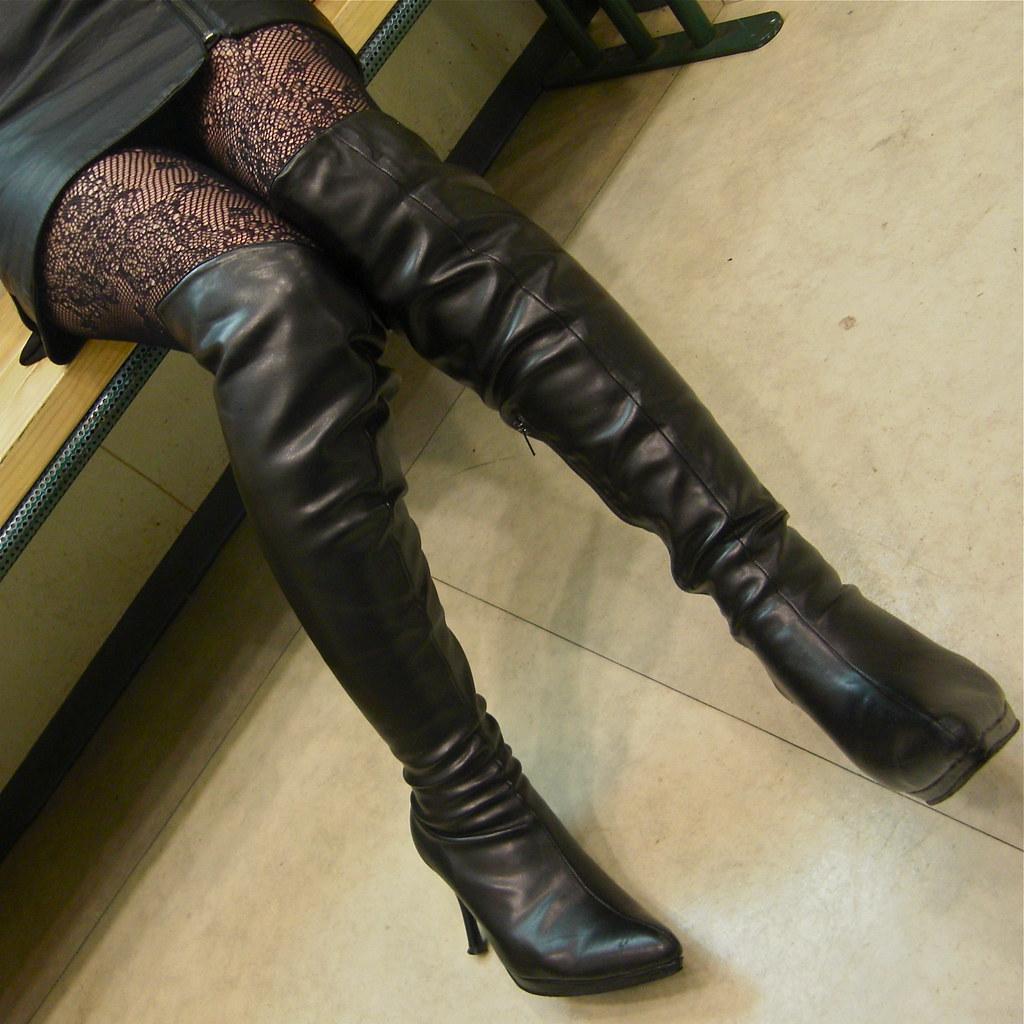 black boots   black leather skirt  photo  flickriver