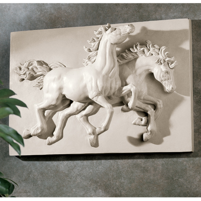 ANIMAL DANCING HORSES SCULPTURAL ART STATUE WALL FRIEZE 18\