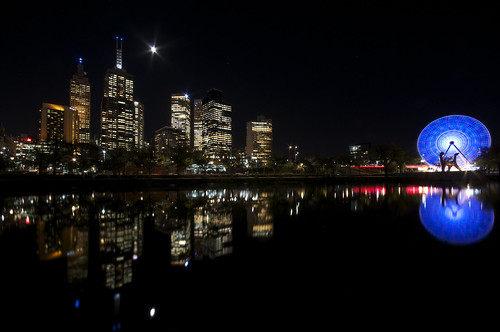 The Melbourne Skyline and Giant Sky Wheel, taken from Boathouse Drive