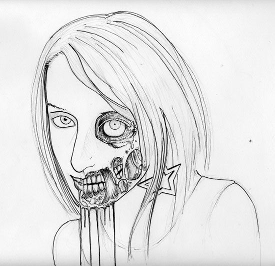 Zombie Face Line Drawing : How to draw a zombie video optimum wound