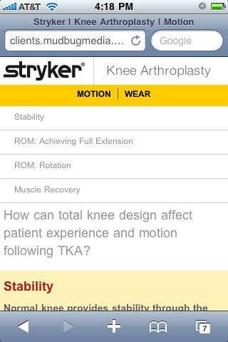 Stryker Arthroplasty Mobile Site