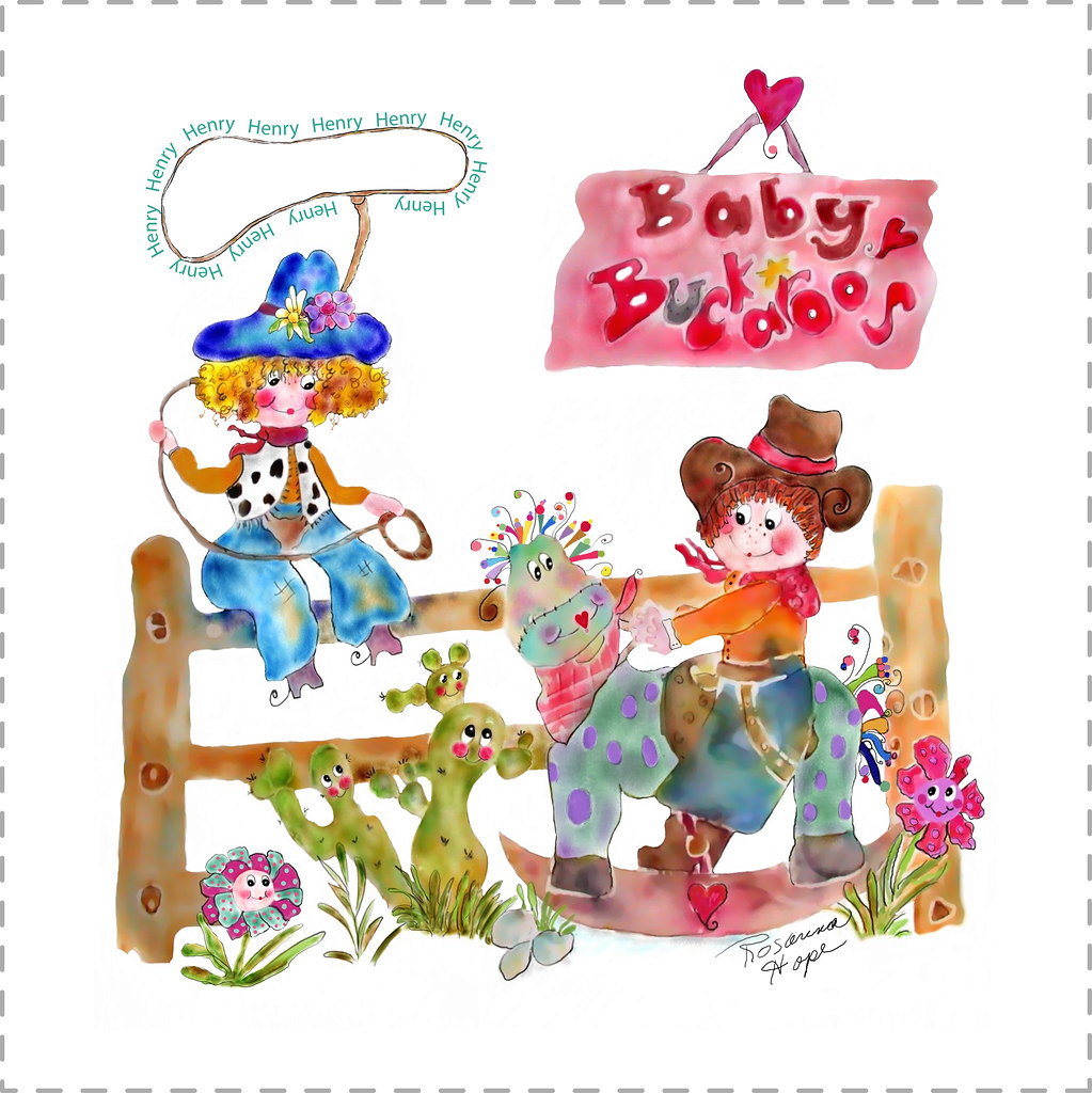 Baby Buckaroos Personalized fabric baby blanket by Rosanna