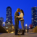 Chicago Night Bridge Kiss
