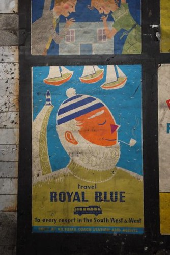 Royal Blue coach services poster by Daphne Padden, c1959
