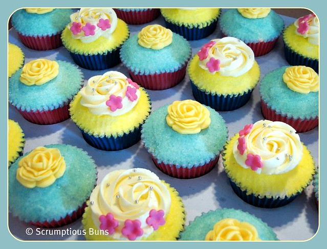 Summer Wedding Cupcakes Turquoise and bright yellow cupcakes that are part