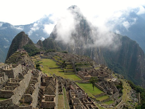 Machu Picchu early morning in the clouds. Peru