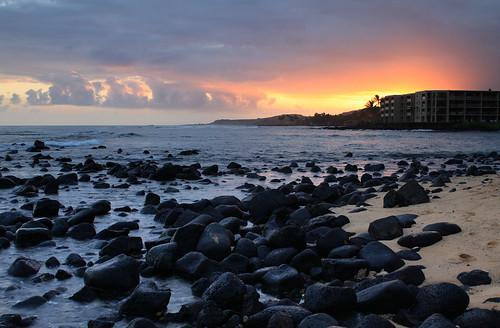 sunset seascape water clouds canon landscape eos hawaii rocks shift kauai poipu tilt canontse45mmf28 5dmarkii