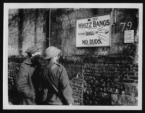 Board to advertise a theatrical party which visits the trenches
