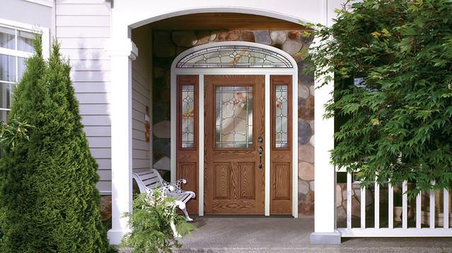 Feather River Door Fiberglass Entry Doors Medium Oak Door Sidelites W