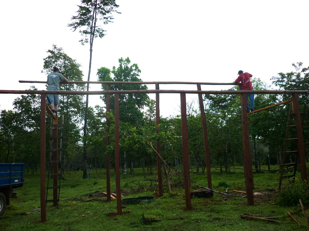 Forming the beams of the enclosure (and tight rope walking)
