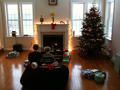 William and Seth up early in the great room to open presents