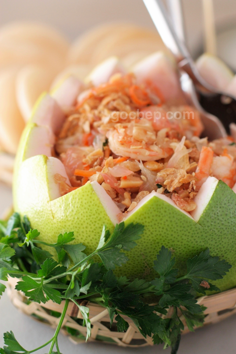 Homemade Vietnamese style pomelo fruit salad