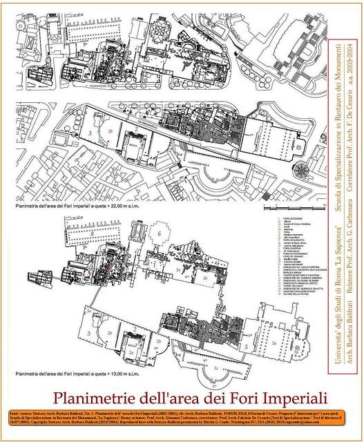 ROME - THE IMPERIAL FORA: FORUM OF CAESAR - ARCH. BARBARA BALDRATI: CAESAR'S FORUM - ARCHITECTURAL SURVEY / Planimetrie dell'area dei Fori  /  Scavo - Stato Attuale dell' Area Fori - 2002-04. © Tutti i diritti riservati 2011.
