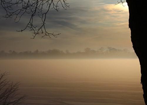 winter sun lake snow ice clouds sunrise michigan