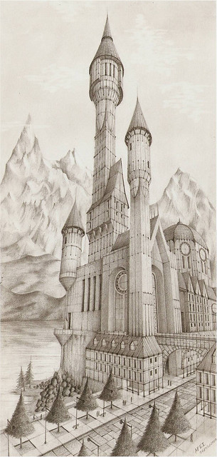 imaginary Medieval Castle - Final drawing, 18cms x 35cms ...