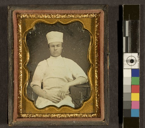 Portrait of unidentified man in baker's or chef's uniform