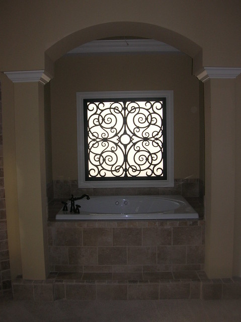 Faux iron bathroom window insert flickr photo sharing for Decorative windows for bathrooms