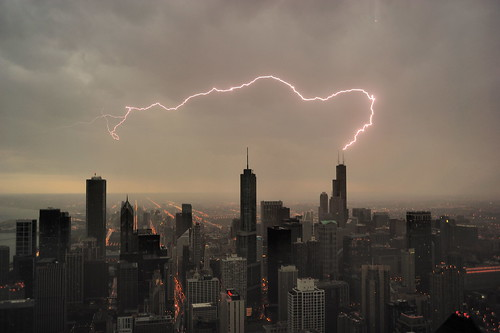 Lightning strikes Sears (Willis) tower in Chicago facing south from Hancock tower (EXPLORED)