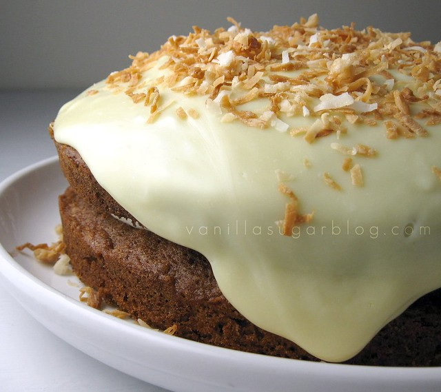 carrot cake w/ cream cheese filling, topped white choco ganache