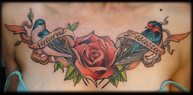 Rose With Banner Tattoos: Bird-banner-rose-tattoo