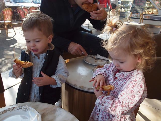 the twins enjoy their escargots