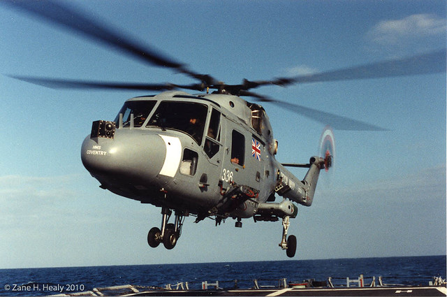 British Helo from HMS Coventry landing on USS Carr