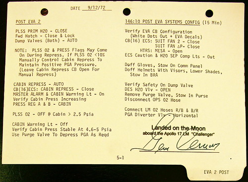 Apollo 17 Lunar Surface Checklist