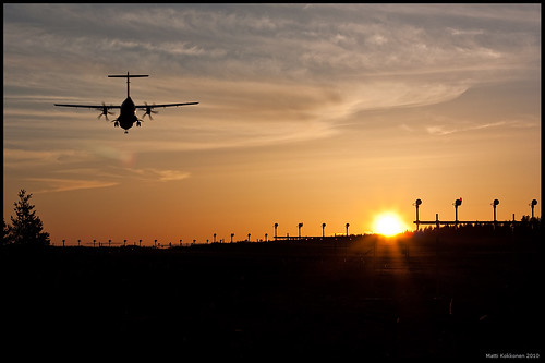 Landing at sunset