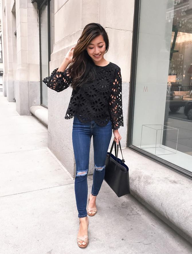 ann taylor lace eyelet top petite fashion blog