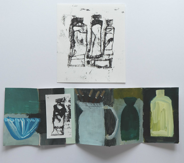 paint tubes monoprint drawing + jug with brushes artist book