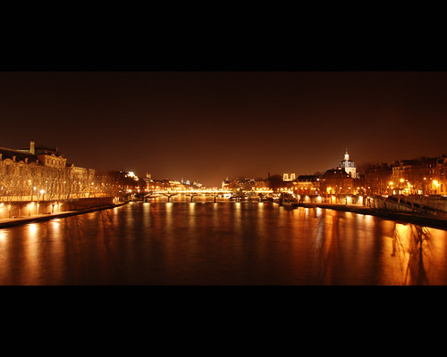 Paris at night from Pont du Carroussel