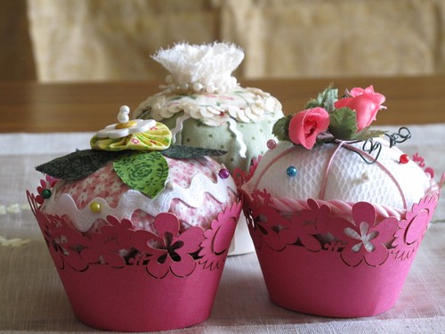 Fabric cupcakes and cupcake wrappers