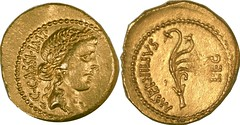 RRC 505/1 Aureus Cassius Liberty Aplustre