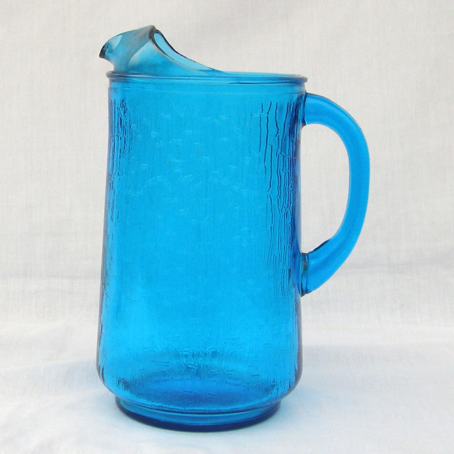 Vintage Anchor Hocking Laser Blue Pagoda Glass Pitcher