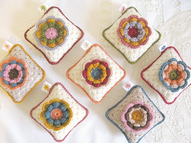 Vintage Rose pincushions, crochet by Emma Lamb