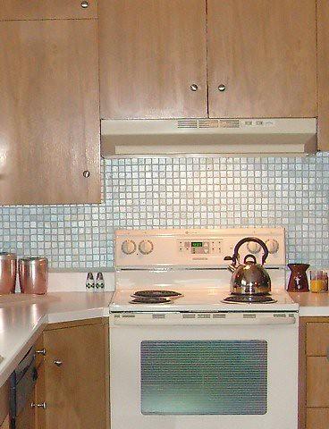 Painted tile backsplash flickr photo sharing for Painting ceramic tile kitchen backsplash