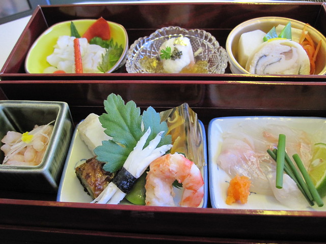 in-flight meal NRT to LHR: kobachis, tsubo, shiizakana and mukouzuke