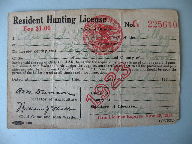 Kostanty gust iwanski 39 s 1923 illinois hunting license for Fishing license illinois