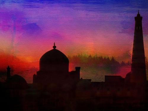 sunset texture silhouette architecture minaret mosque dome uzbekistan khiva