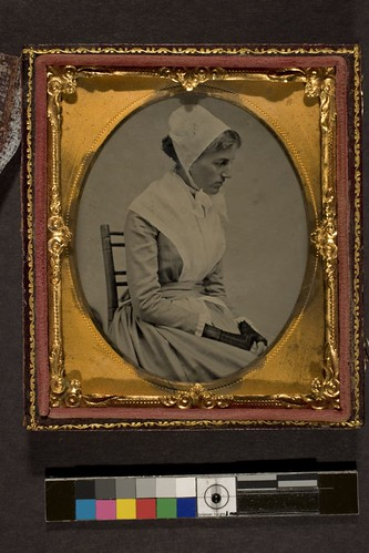 Portrait of a woman in Shaker or Quaker dress