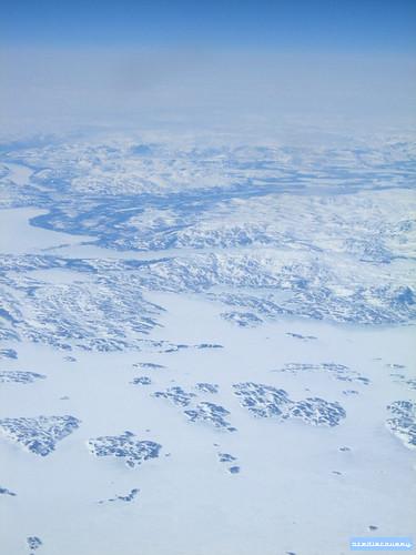 Arctic frozen landscape, aerial photograph